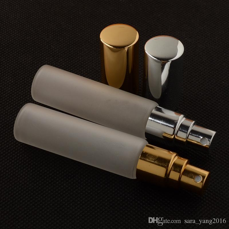10ML Frosted Glass Spray Bottle Refillable Perfume Atomizer Sample Bottle Glass Vials with Gold Silver Cap wen5906