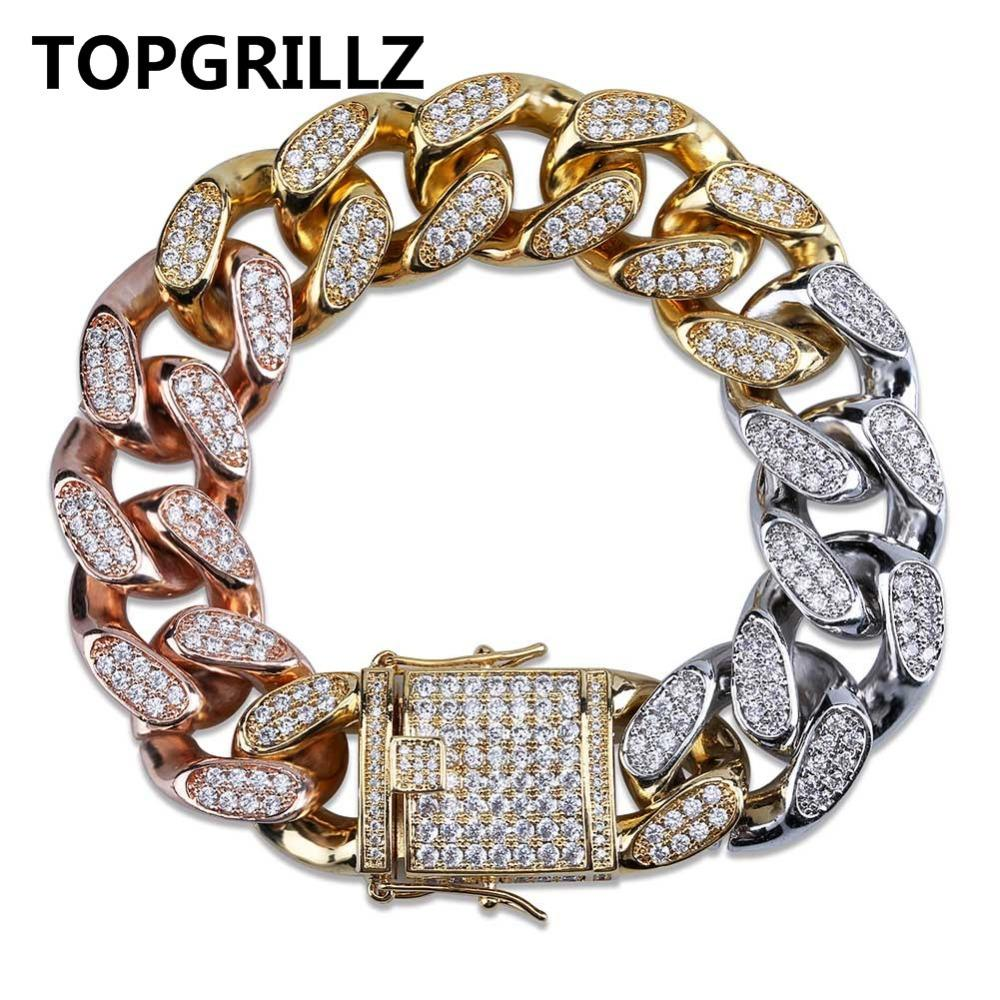 c466d21176 New Style Men's Gold Silver Rose Gold Tricolor Iced Out Cubic Zircon ...