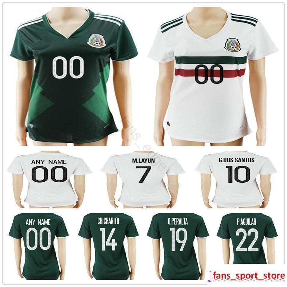 2017 2018 Women Mexico Soccer Jerseys Home Away 10 G.DOS SANTOS 14  CHICHARITO 18 GUARDADO 19 PERALTA 22 AGUILAR Ladies Football Shirt Online  with ... a58021736