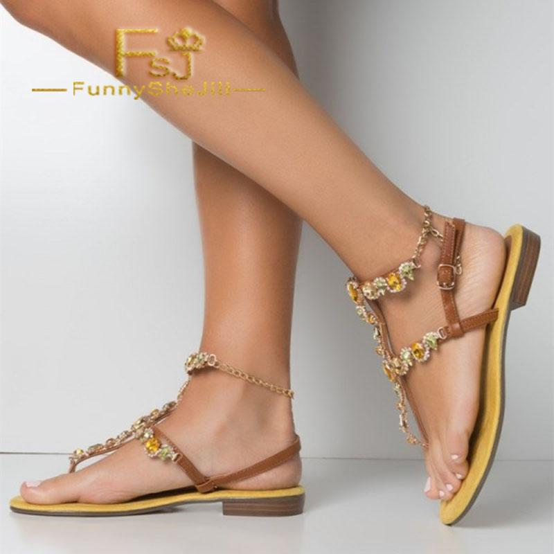 a09481a8ff Brown Rhinestone Gladiator Sandals Comfortable Beach Sandals Summer  Attractive Generous Incomparable Noble Elegant FSJ Sexy