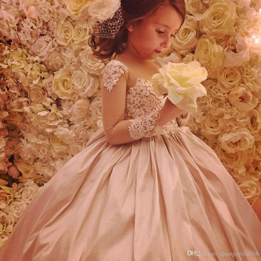 48e50acfac5 New Cute Flower Girls Dresses Glitz Pink Ruched Lace Embellished Princes Long  Sleeves Birthday Party Girls Pageant Gowns Dresses For Little Girls Dresses  ...