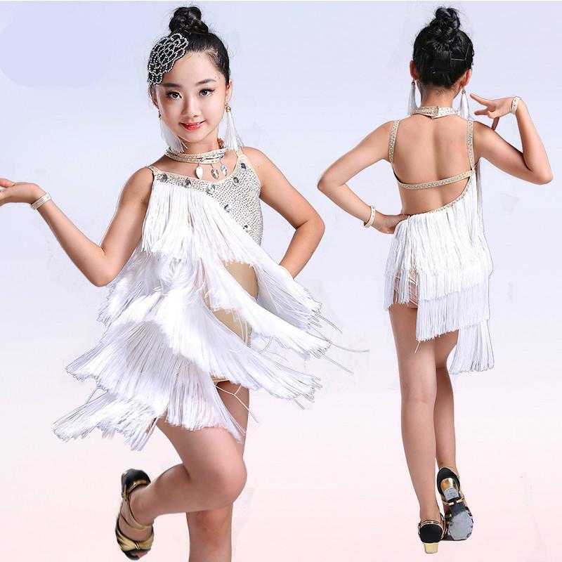 1989894f Compre Bordado De Lentejuelas Niños Niño Niños Vestido De Baile Latino  Profesional Para Niñas Vestidos De Baile De Salón Para Niños Flecos Salsa  Spandex A ...