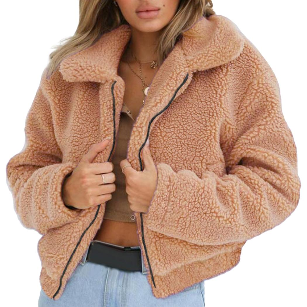 Women Ladies Winter Fluffy Shaggy Fleece Fur Jacket Warm Overcoat Outerwear Coat