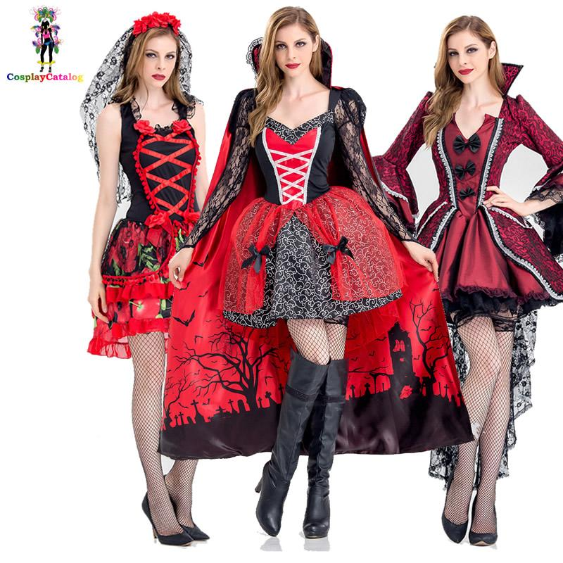Deluxe Halloween Sexy Adult Women Vampire Costumes Victorian Vamp Fancy  Party Dress Witch Female Costumes Zombie Uniforms Top Group Halloween  Costumes Group ... cf94ae861ad9