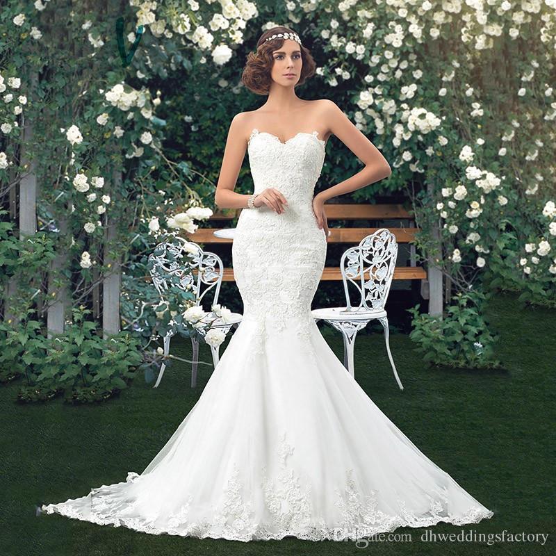 Beautiful Wedding Party Dress Wedding Dresses Mermaid Lace Bridal Gown Strapless Bridal Dresses Vestidos De Novia
