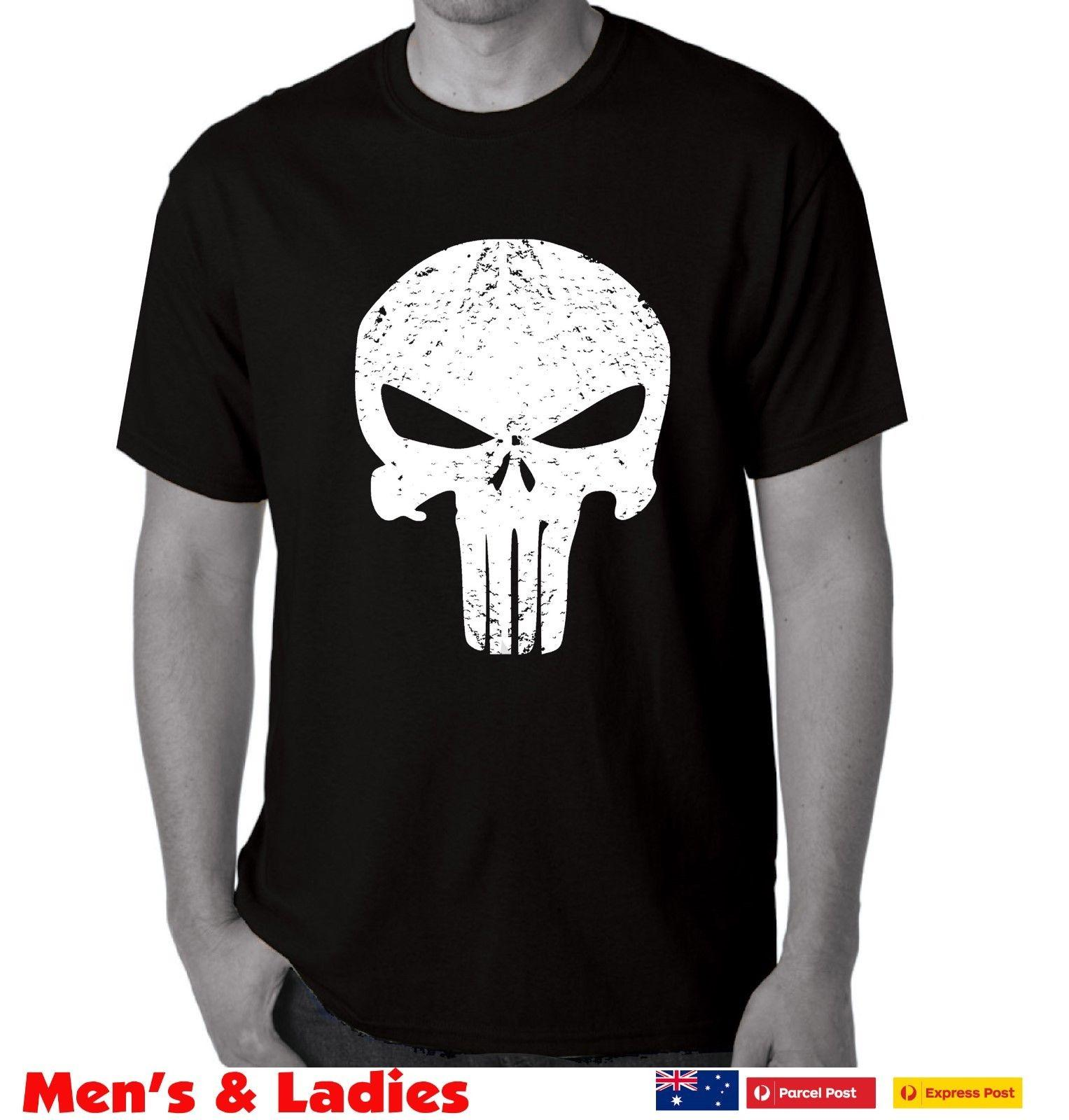 4d02c57b2 The Punisher DISTRESSED SKULL Logo T Shirt Frank Castle Movie Comic Mens  Ladies T Shirt Tee Best Funny T Shirts From Vectorbomb, $11.01| DHgate.Com