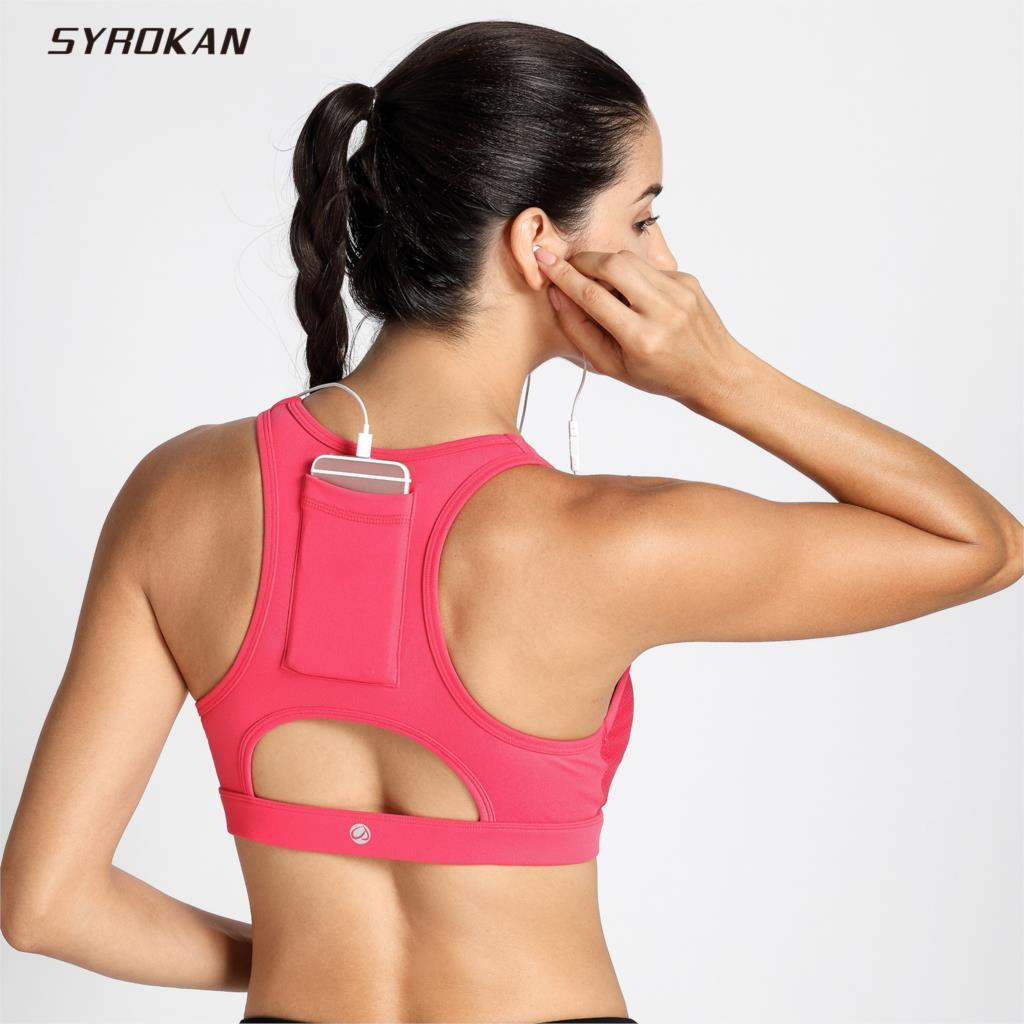 e4e0c1a84f6c1 2018 Syrokan Women S High Impact Sport Bra With Back Pocket Front Zipper  Workout Bra From Yy2916753125