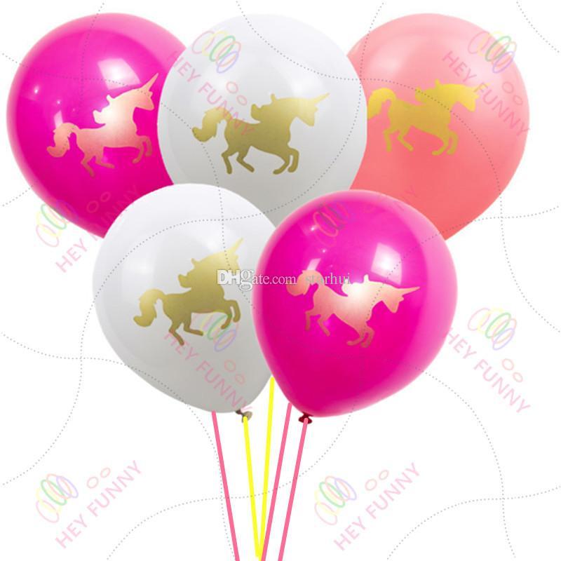 Licorne Ballons Joyeux Anniversaire Décorations De Fête Enfants Rose Blanche De Bande Dessinée Licorne Ballons Licorne Partie Fournitures Enfants Aimé WX9-510