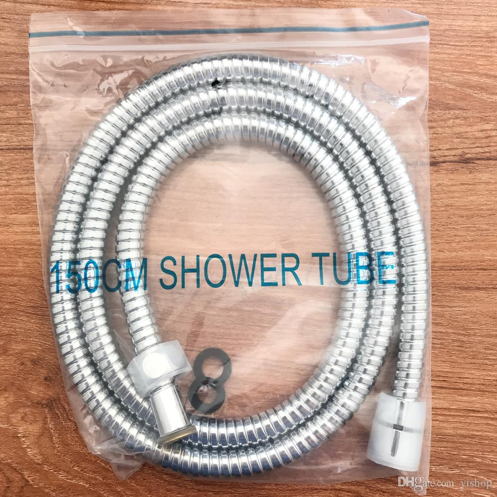 1.5m Meter Chrome Shower Bath Hose Flexible Stainless Steel Replacement Pipe High quality Bathroom tube hose double proof Explosion