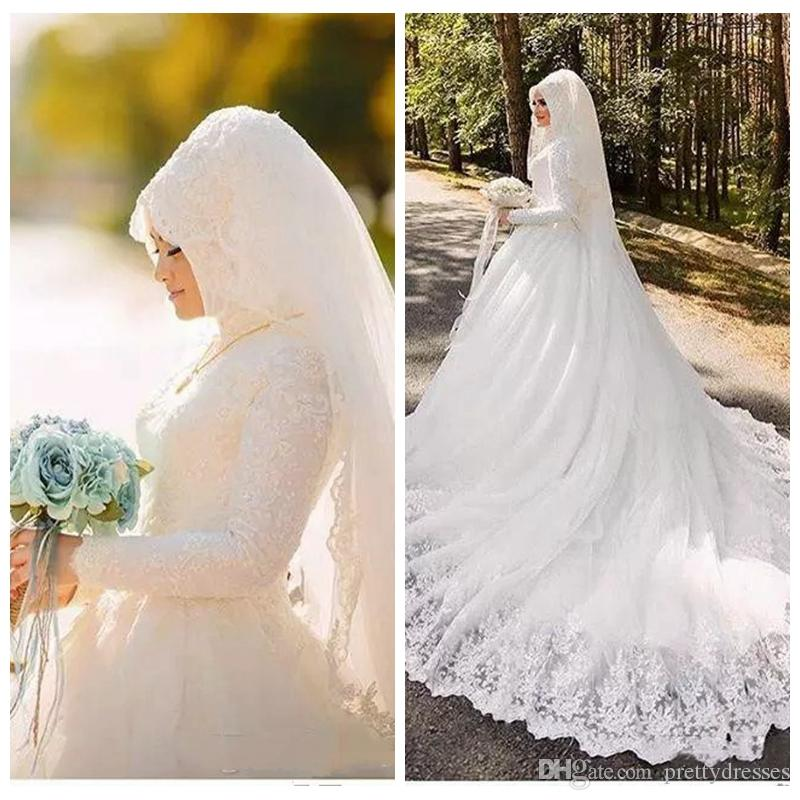 2019 Modest High Neck Arab Muslim Marriage Wedding Dress Vestido De Marriage Beautiful Long Sleeves Bridal Gown Lace Appliques Middle East