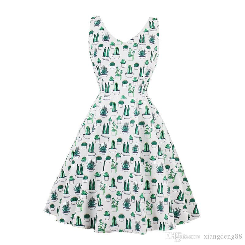 cc9531d5d9c Ladies Hepburn 50s 60s Vintage Dress Elegant Womens Sleeveless V Neck Big  Swing Party Dresses Girls Printing Sundress S 4XL Hot Discount Dresses  Black ...