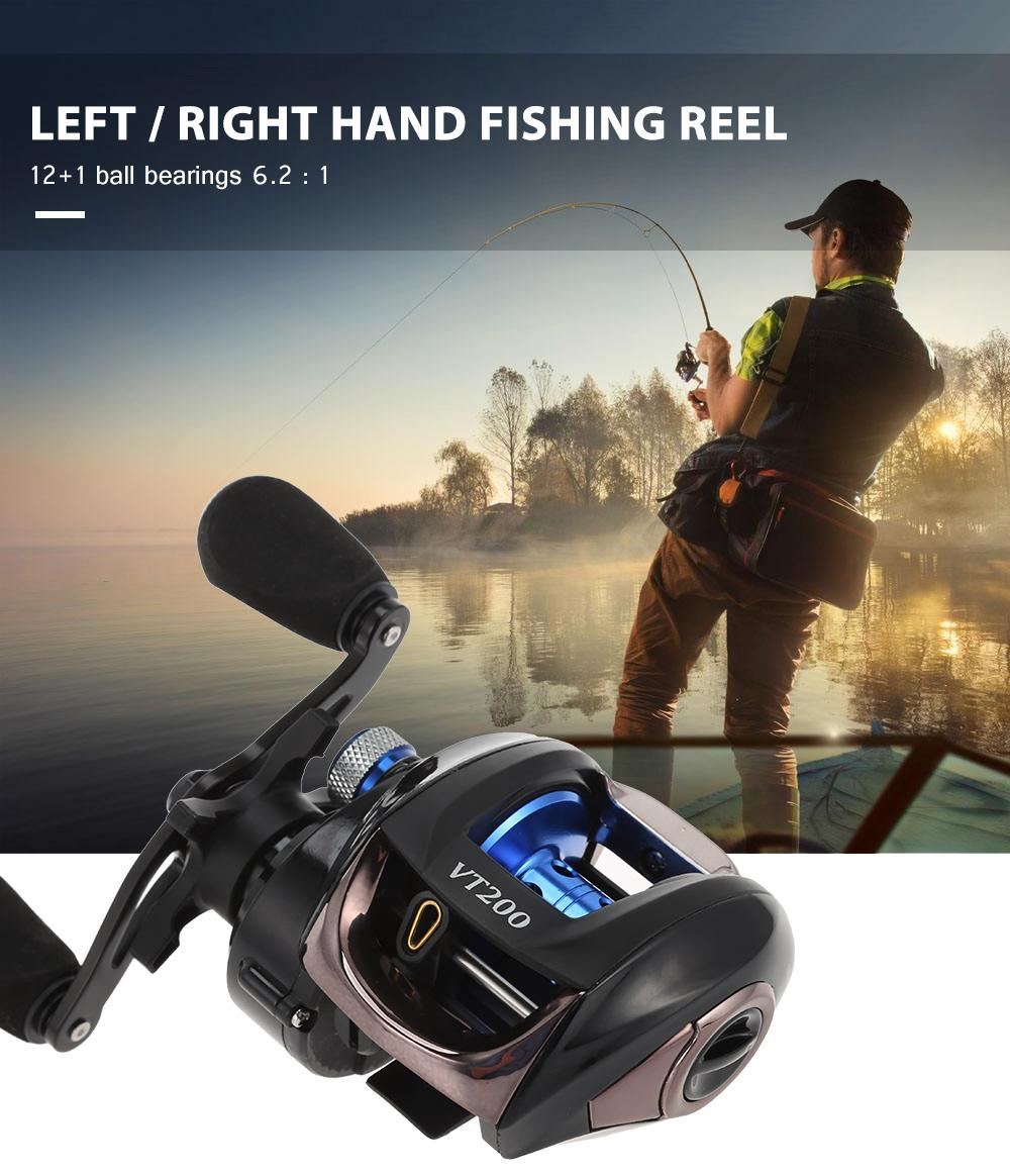 12+1 Ball Bearings Fishing Reel 6.3:1 Gear Ratio Bait Casting Reel Lightweight Right Hand Fishing Reel Magnetic Braking System High Speed