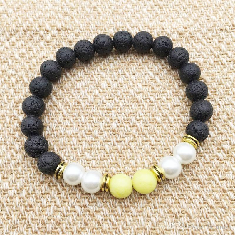 Natura Black Lava Stone Beads Elastic Bracelet Essential Oil Diffuser Bracelet Volcanic Rock Beaded Hand Strings Lemon Jade Jewelry