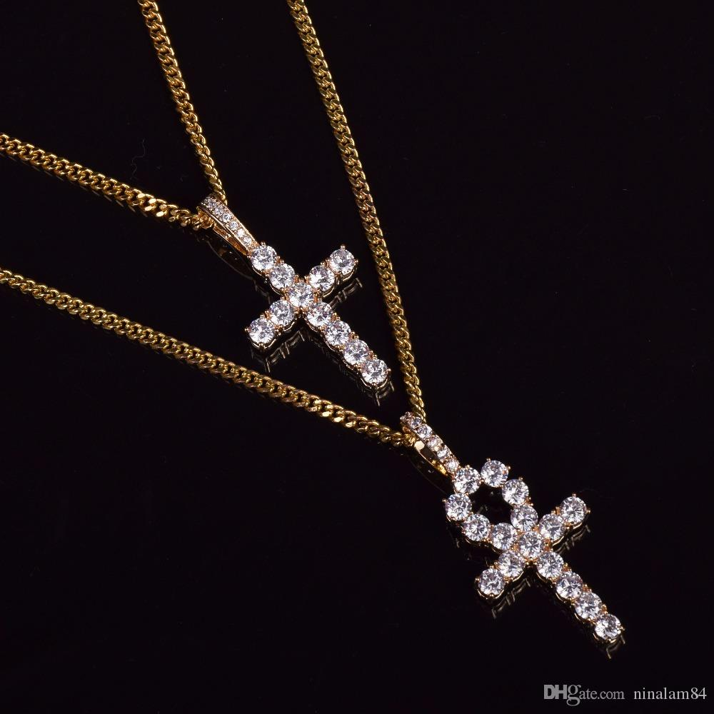 Iced Zircon Ankh Cross Necklace Set Gold Silver Copper Material Bling CZ Key To Life Egypt Cross Necklace Hip Hop Jewelry