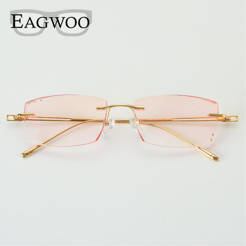 346feacc766 2019 Titanium Eyeglasses Men Rimless Prescription Reading Photochromic Progressive  Glasses Frameless Spectacle Color Lens 8005 From Vintage66