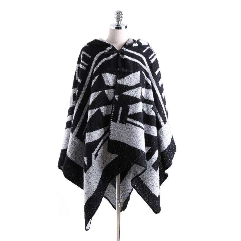 Winter Poncho Hooded Button Pashmina Cashmere Shawl Ponchos and Capes Fall 2016 Scarves and Stoles Large Shawls for Woman