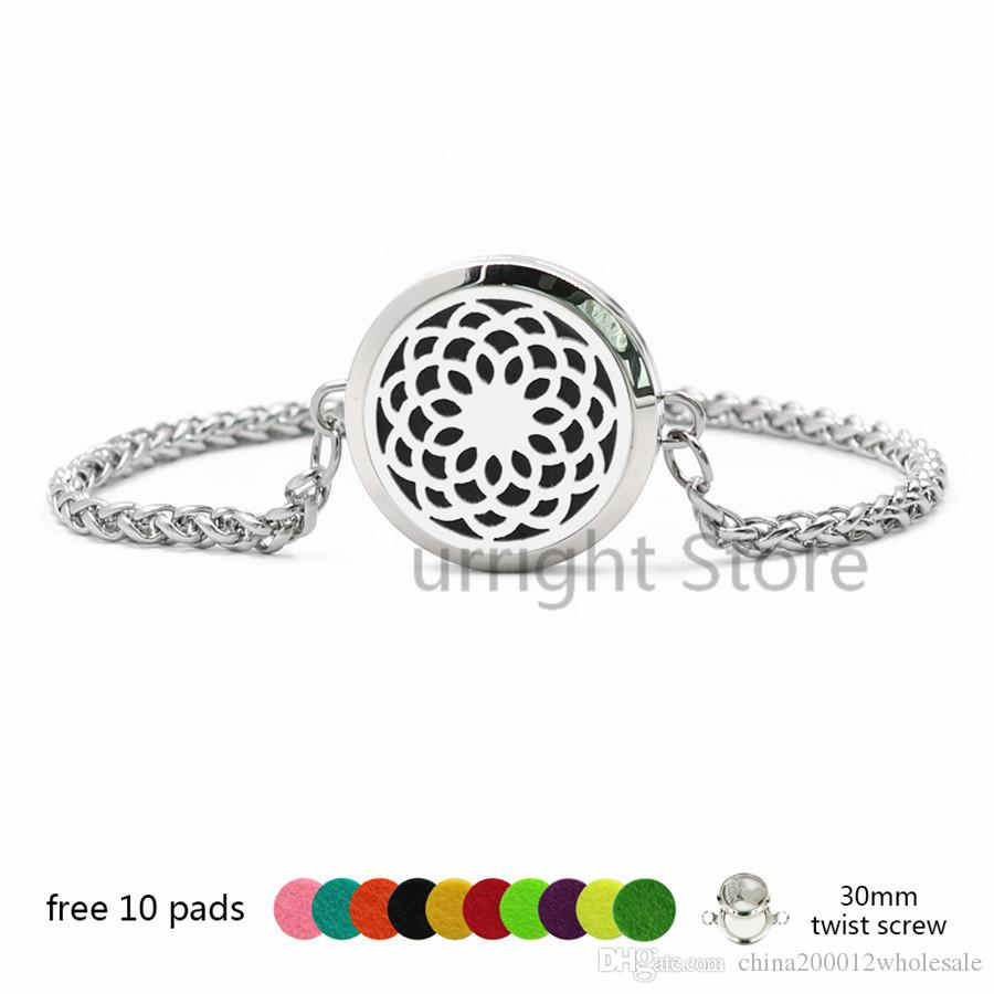 Butterfly 316 L stainless steel Perfume Essential oil Diffuser Locket bracelet 30mm twist screw locket with Wheat chain bracelet 10pads