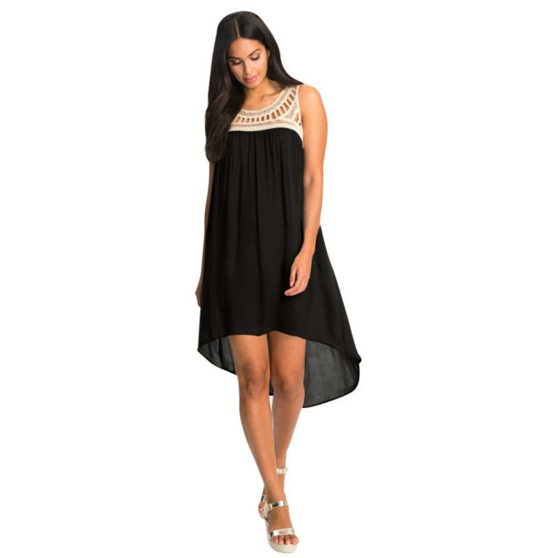 aed4dc42a763 Lace Collar Splicing Chiffon Sleeveless 2019 Summer Dress Women Casual  Loose Irregular Beach Short Mini Dresses Ladies Dresses For Evening Party  Party ...
