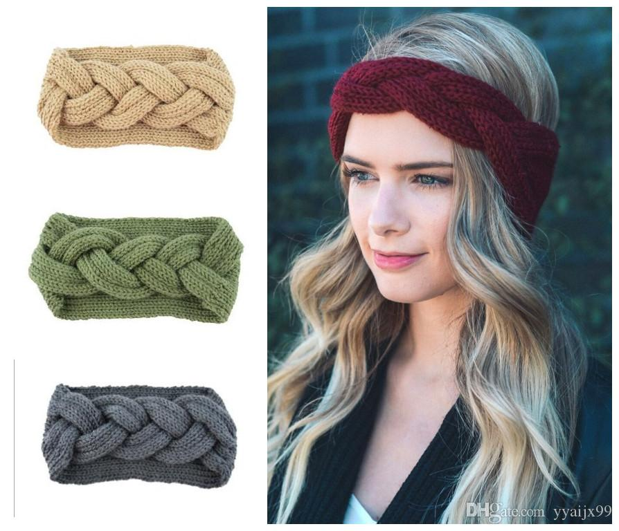 2019 Women Lady Crochet Braid Knot Headbands Turban Knitted Head Wrap  Winter Ear Warmer Hairband Hair Band Accessories From Yyaijx99 432aa092c9e
