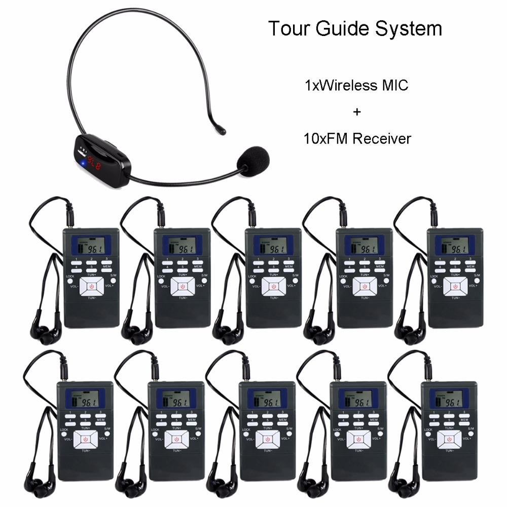 Wireless Tour Guide System Portable Voice Transmission System Set For  Meeting 1 MIC Transmitter + 10 FM Receiver Y4305 Guitar Tuner Microphone  Computer ...