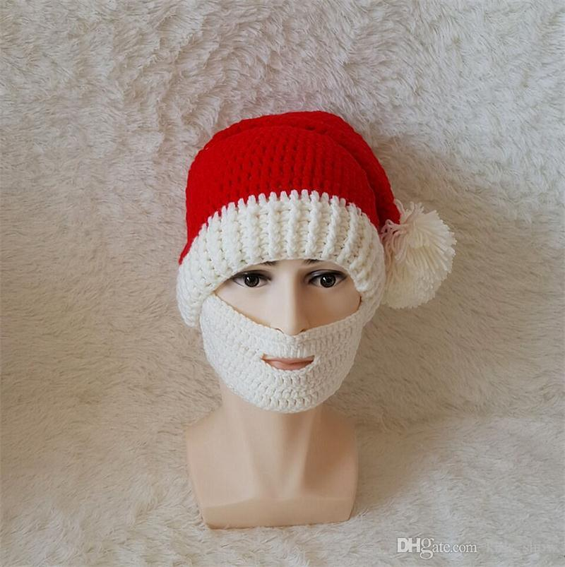 d45c2c52020 Christmas Beard Hats Knitting Beard Mask Cap Men Women Winter Santa Clause  Cosplay Hat Warm Ear Protective Skiing Headgear Party Decoration Christmas  Cake ...