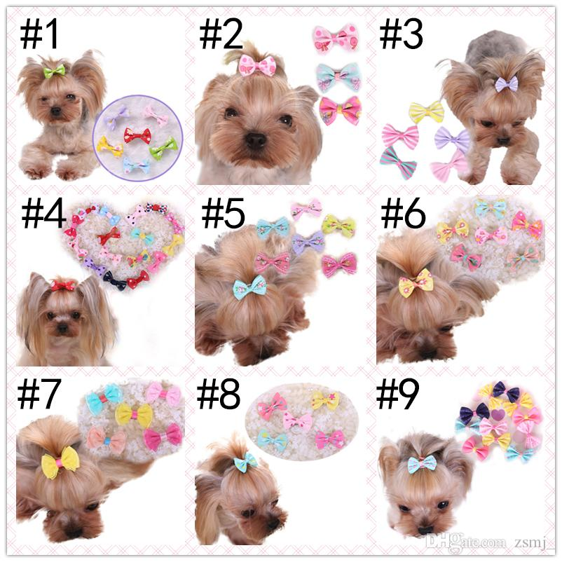 9 Styles 3.5cm Bowtie Pet Clips Hair Accessories Grooming Gift Products Cute Dog Ornaments Supplies
