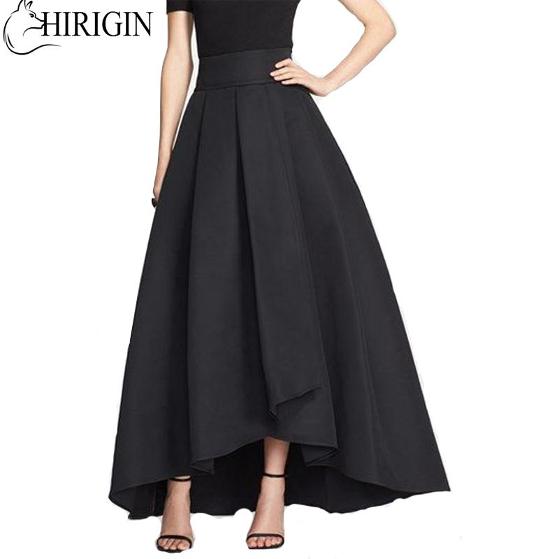 2019 New Style In Autumn 2017 Women Solid Stretch High Waist Flared Pleated  Asymmetric Maxi Long Skirt From Jujubery 3b0ca97da3c4
