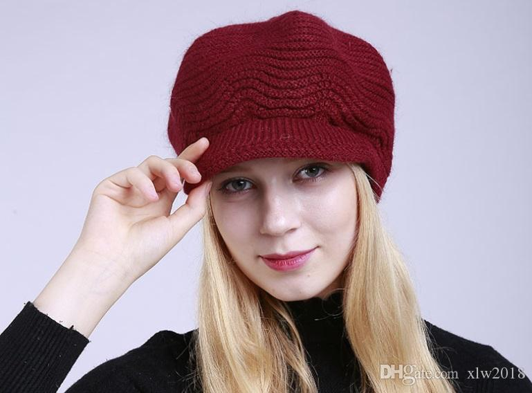 d9fb0ba39cbd3 2019 New Fashion Women S Hat Winter Skully Beanies Knitted Hats Rabbit Fur Flat  Cap Pure Color And Velvet From Xlw2018