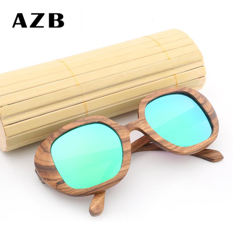 816f1ac784 2018 AZB Retro Walnut Wood Sunglasses Men Polarized Handmade Bamboo Square  Oversized Sunglasses Women Black Zebra Glasses Sport Sunglasses  Prescription ...