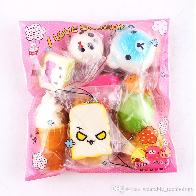 10pcslot Squishy Jumbo Panda Bun Slow Rising Squishy Cute Soft Mini Breadcakeice Cream Donut Phone Straps Toy Collections