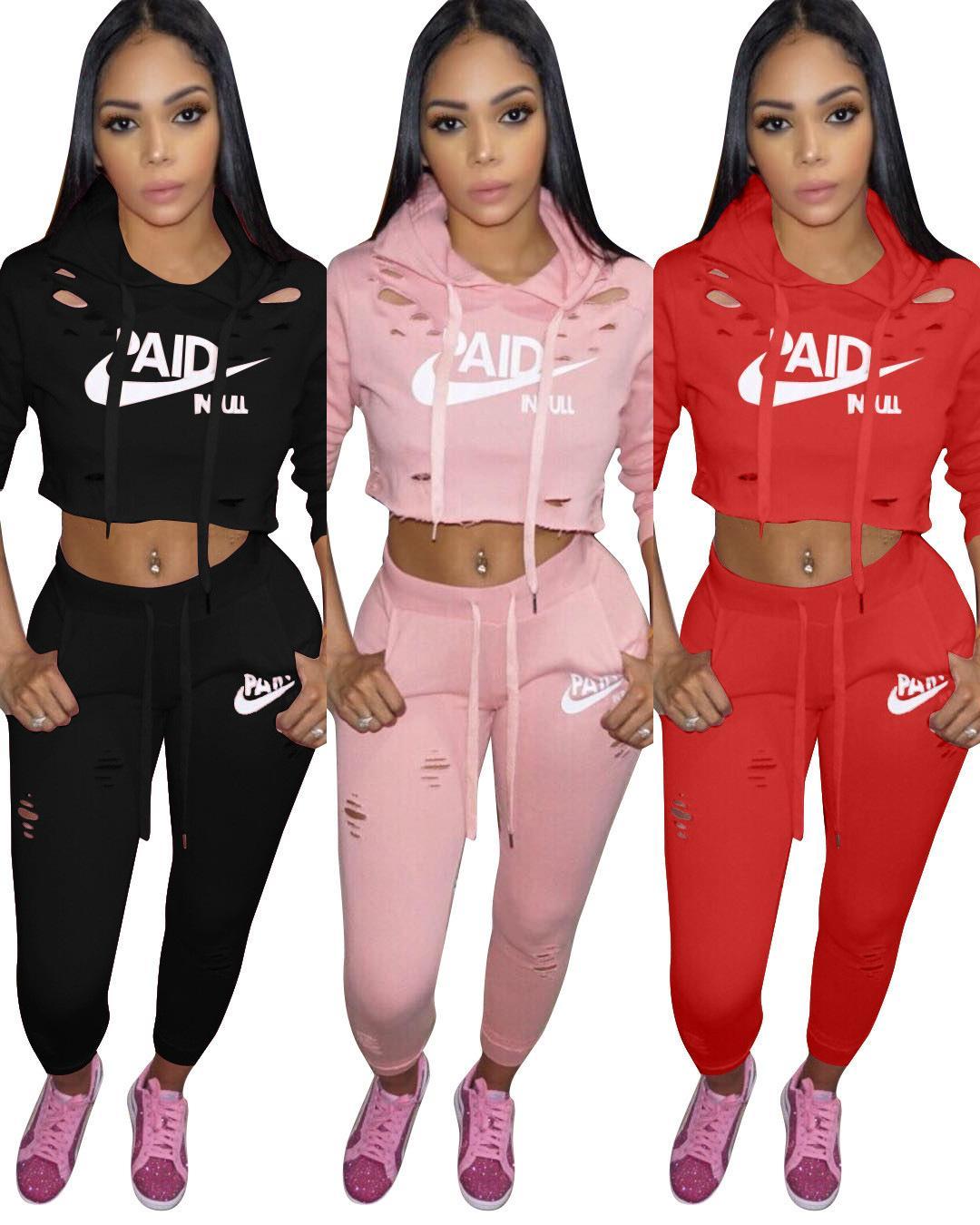 0c76cd947e 2018 Love Pink Letter Tracksuits Long Sleeve 2 PCS Sets Top Pants Ladies  Summer Casual Tracksuit Yoga Jogger Suit WG0077