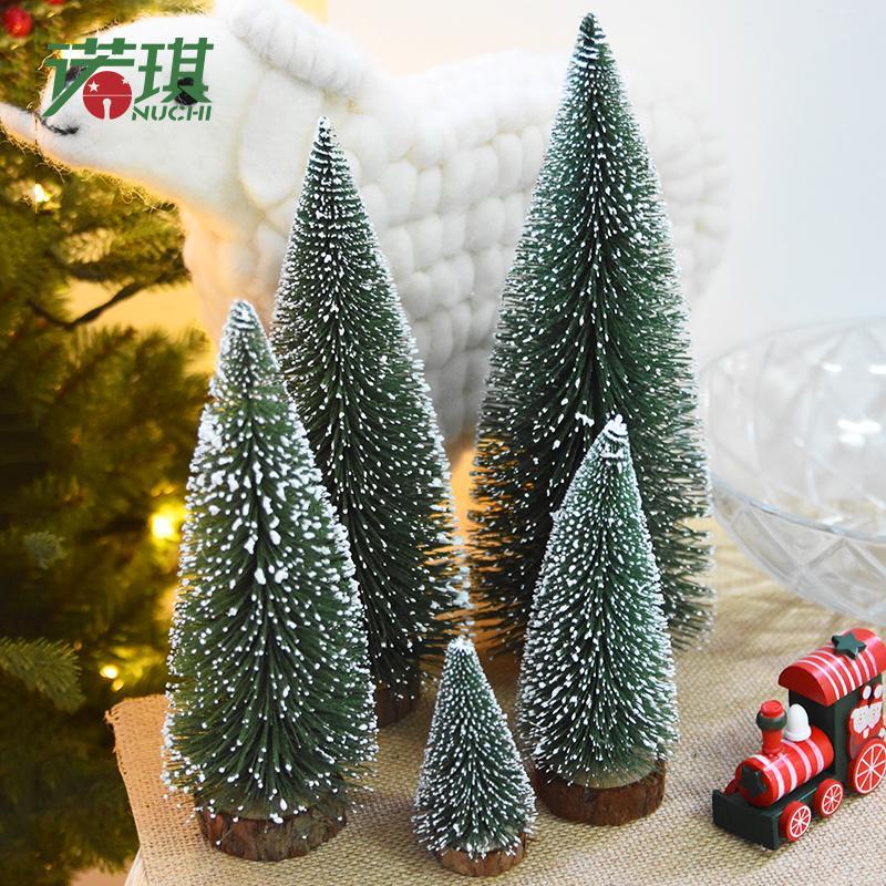 White Cedar Mini Christmas Tree Pine Needles Flocking Christmas Tree ...