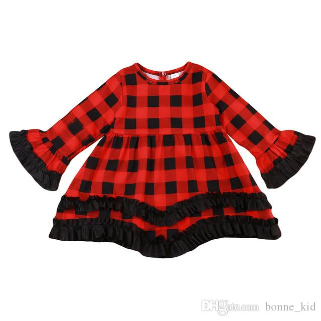 Kid Baby Girls Dress Christmas Red Plaid Tutu Dress Toddler Kids Princess Long Sleeve Plaids Party Pageant Dresses