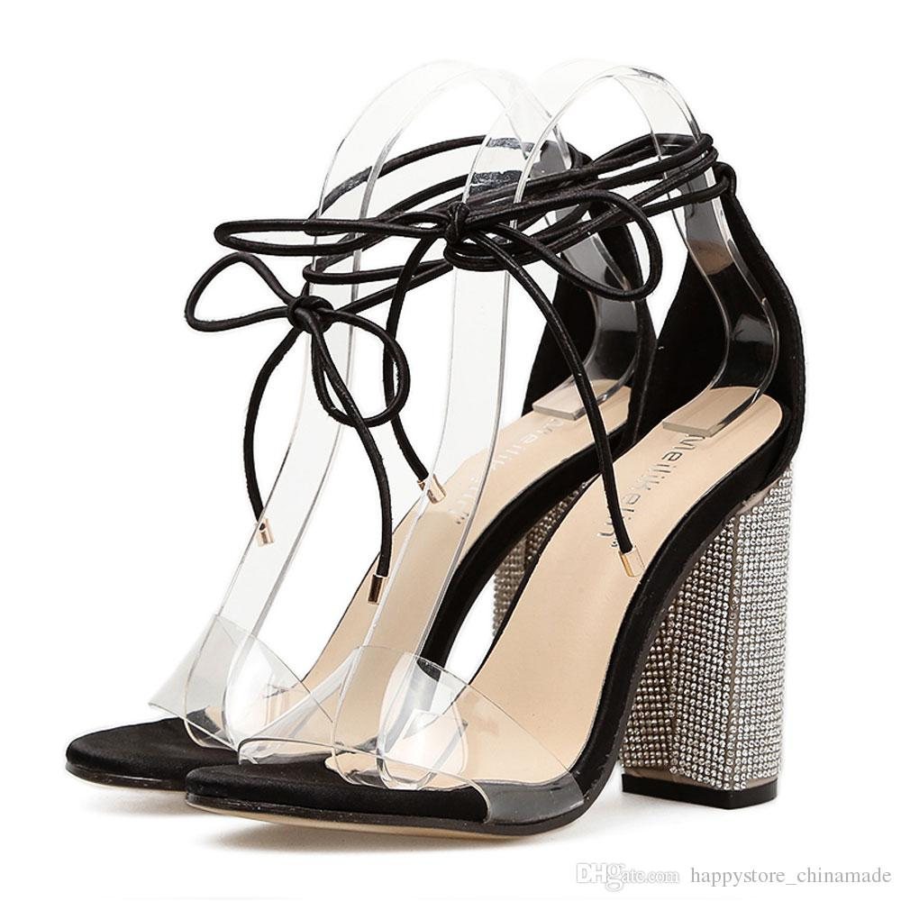 d0ef5d6ce61 2018 Summer NEW Fashion Sexy Women Pumps Crystal Transparent High Heels  Sandals Thick Heel Lace Up Shoes Ladies Party Wedding Shoes 555 11 Heels  Gladiator ...