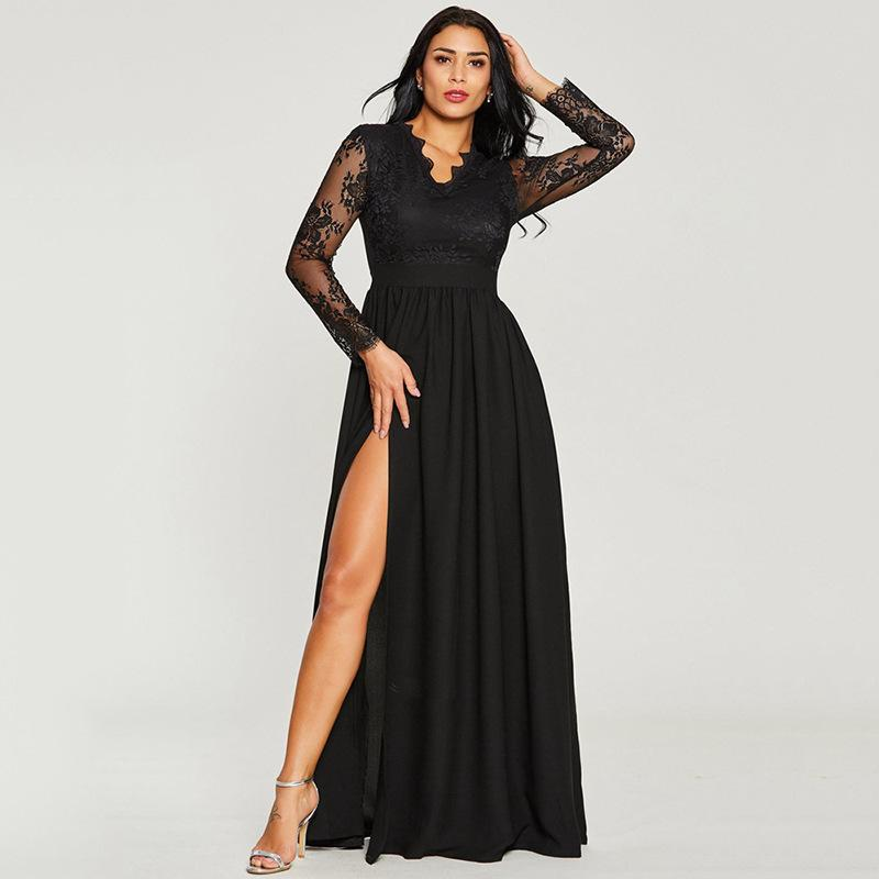 Europe And The United States 2018 New Solid Color Lace Evening Dress