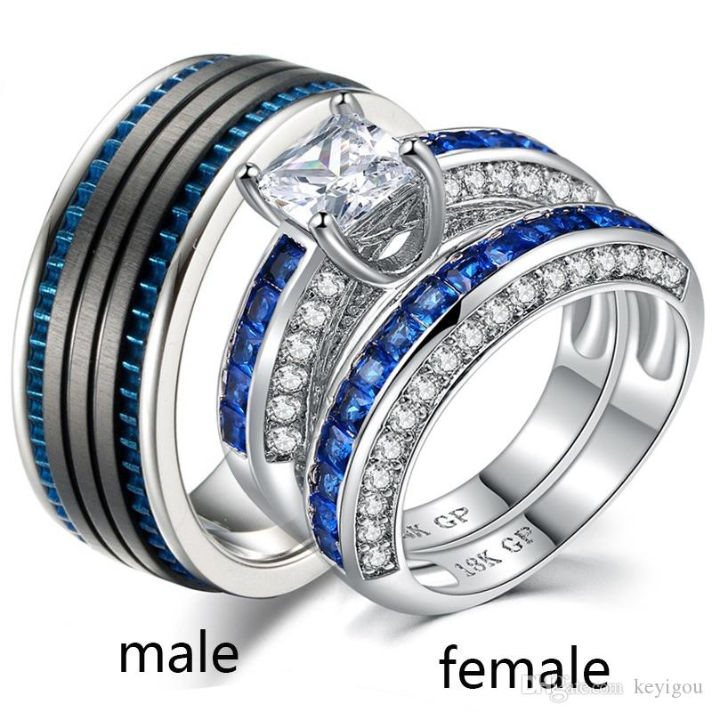 Sz6 12 Two Rings Couple Rings His Hers White Gold Filled Zircon Women S Wedding Ring Sets Stainless Steel Mens Ring