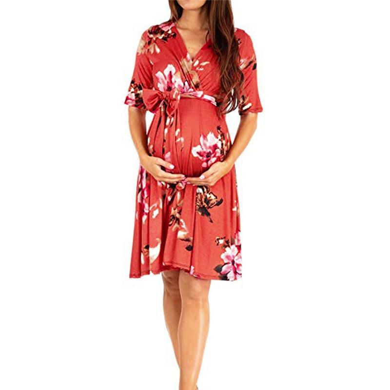28583d5366229 Women's Sundress Pregnancy Butterfly Print Dress Maternity Short Sleeve Sundress  Clothing summer dress woman Nursing Clothes