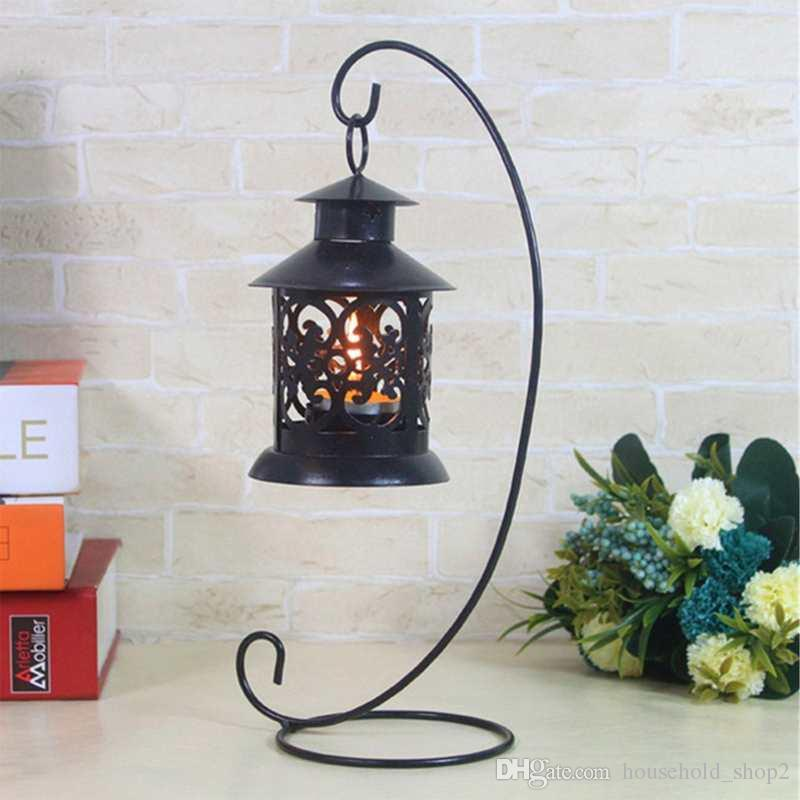 Retro hollow iron candle holders Hanging Stand Candlestick holder for Wedding event Home Decoration