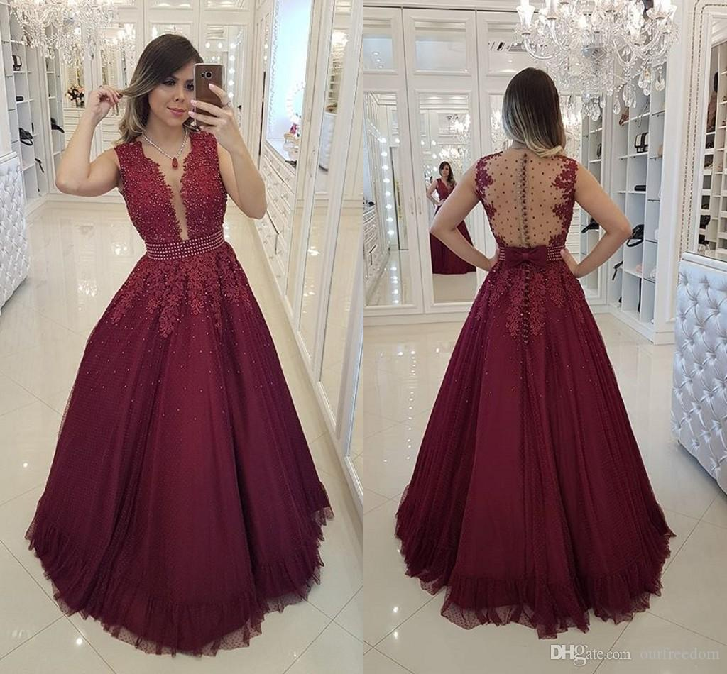2019 Burgundy A Line Prom Dresses Illusion Back Lace Beaded Appliques Floor  Length Button Back Formal Evening Occasion Dresses Custom Made Pink Short  Prom ... 56c96678e8c1