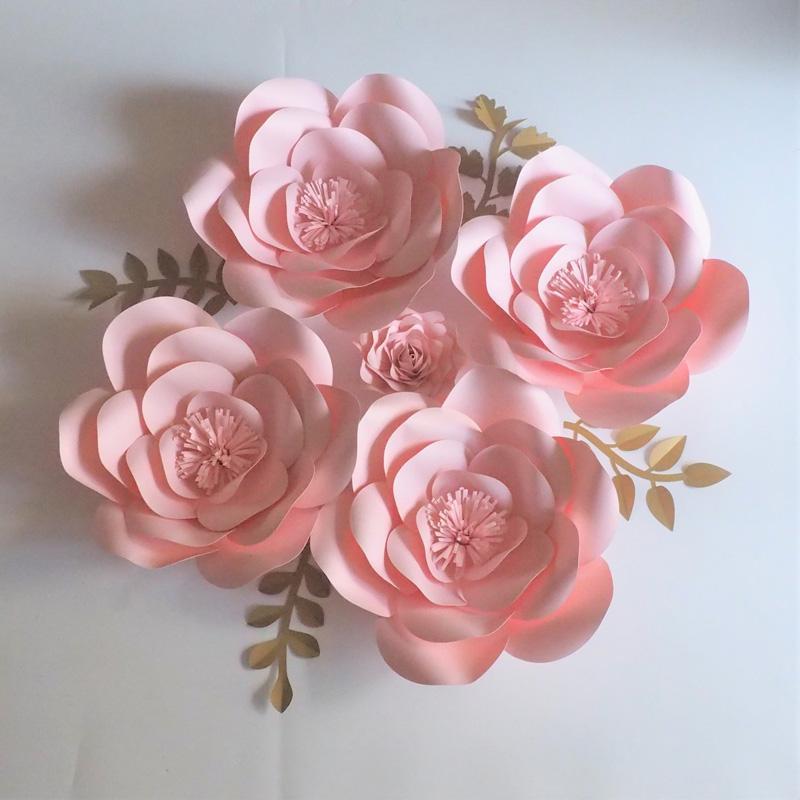 2018 Diy Full Kits Baby Rosa Riesen Papier Rose Hintergrund 5 Stucke Blatter 4 Stucke Fur Hochzeit Event Baby Nursery Kunstliche Video