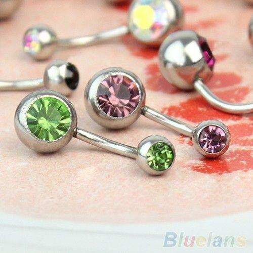 / 316L Nombril chirurgical strass acier Navel Ring Bar Piercing Nombril Joias Ouro Pircing Bijoux Pirsing Ombligo