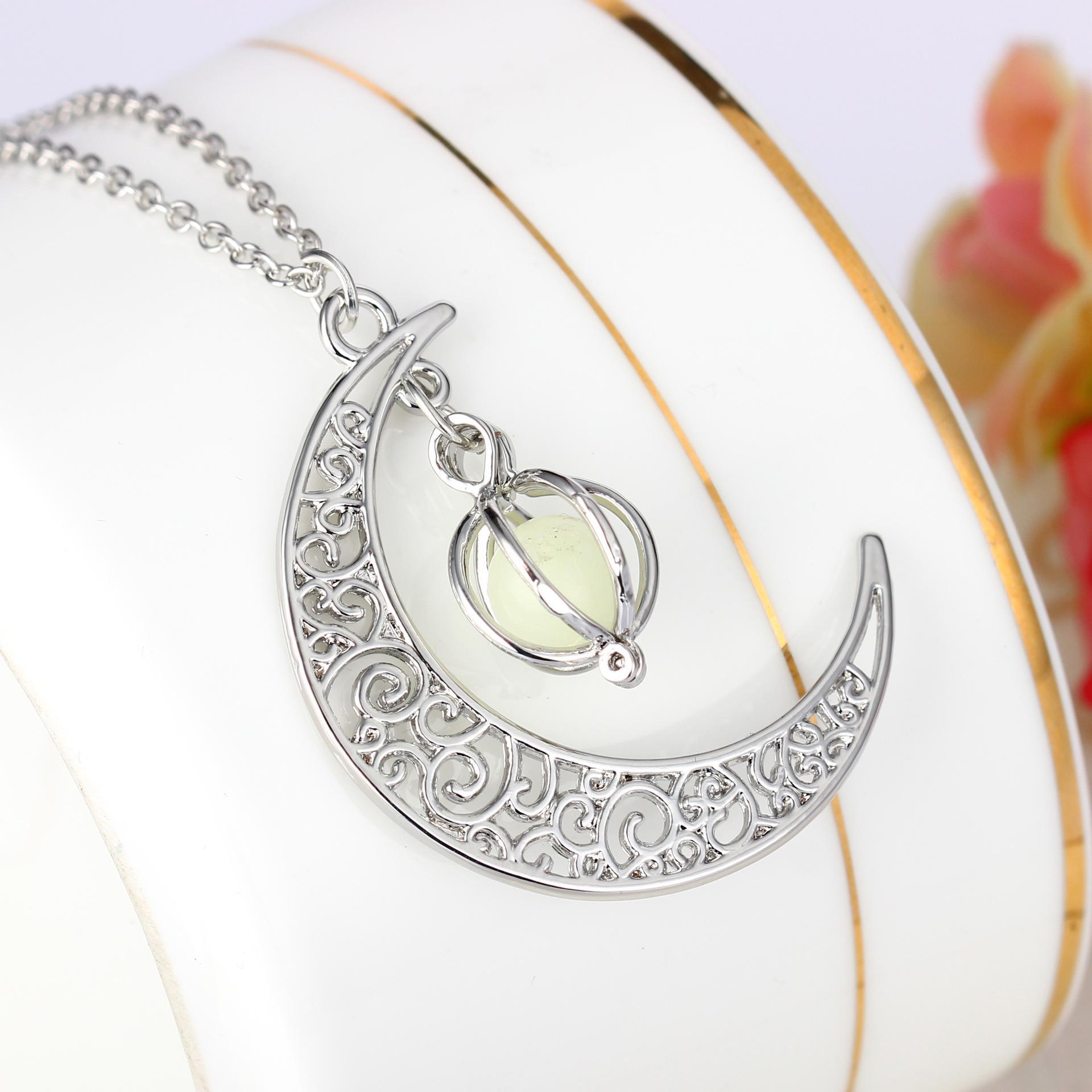 Moda donna pietra lustro luna fascino luminoso pietra collane pendenti gioielli moda collana di dichiarazione
