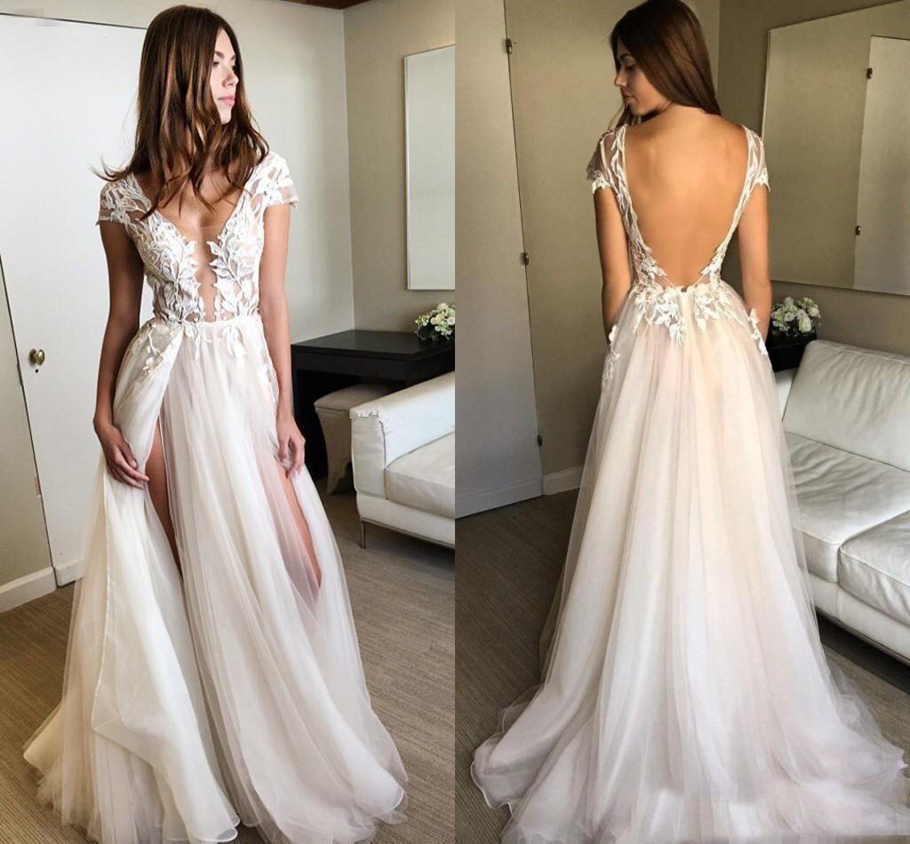 2018 Vestidos de novia apliques sin respaldo encantador atractivo vestidos de una línea de la boda cuello en V profundo lateral abierto encaje de tul