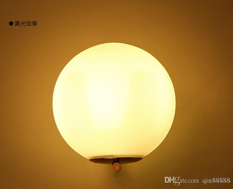 Post Modern Sconce Lights Frosted Glass Ball Wall Light Fixture Bronze Interior Designer Wall Lamp For Bedroom Living Room