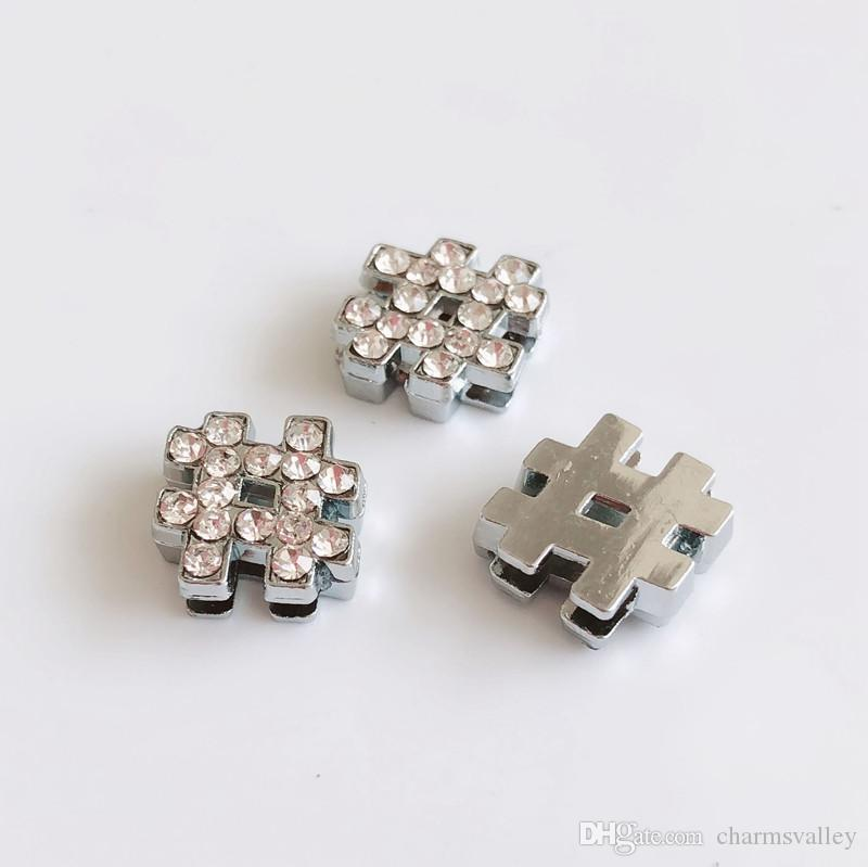 8mm Full Rhinestone Silver   Note Slide Charms Letters Fit DIY Pet ... fa48ab3c5163