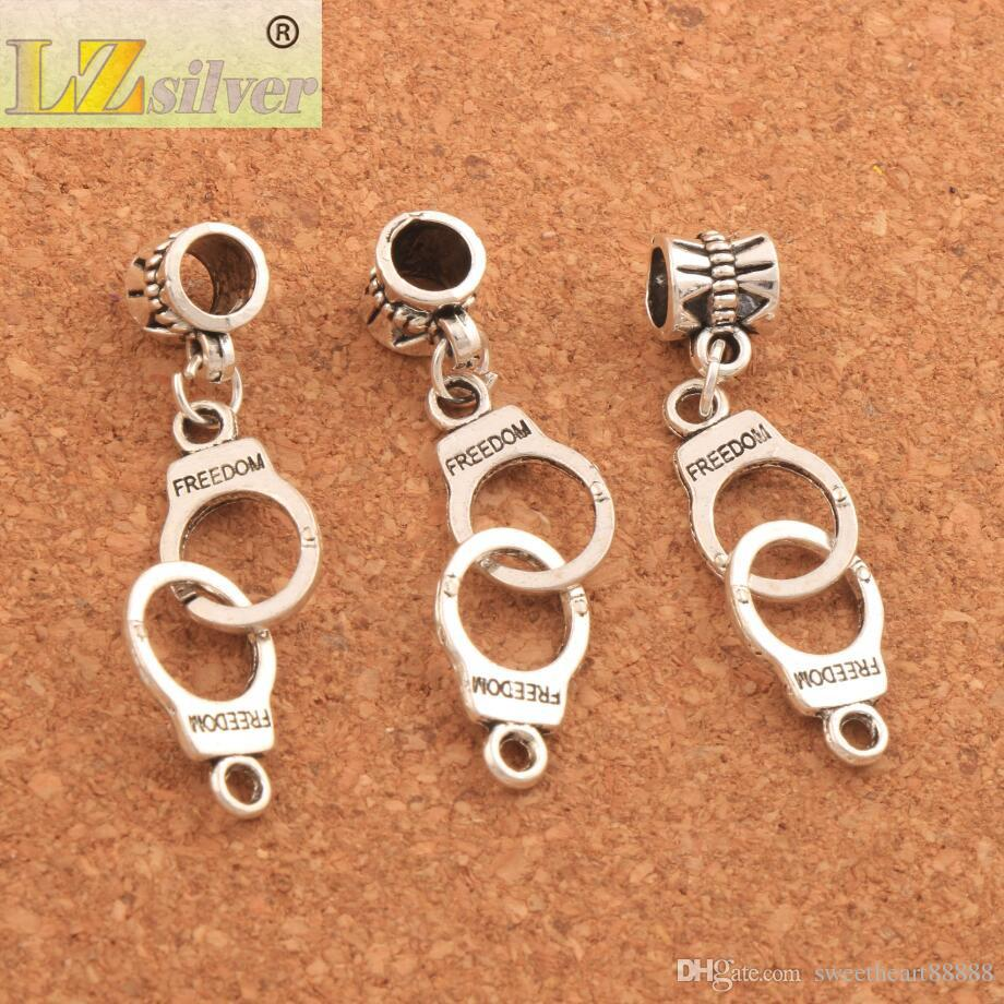 100 pçs / lote 42.3x10.2mm Algemas Liberdade Big Hole Beads Antique Prata / Bronze Dangle Fit Charme Europeu Pulseiras Jóias DIY B243