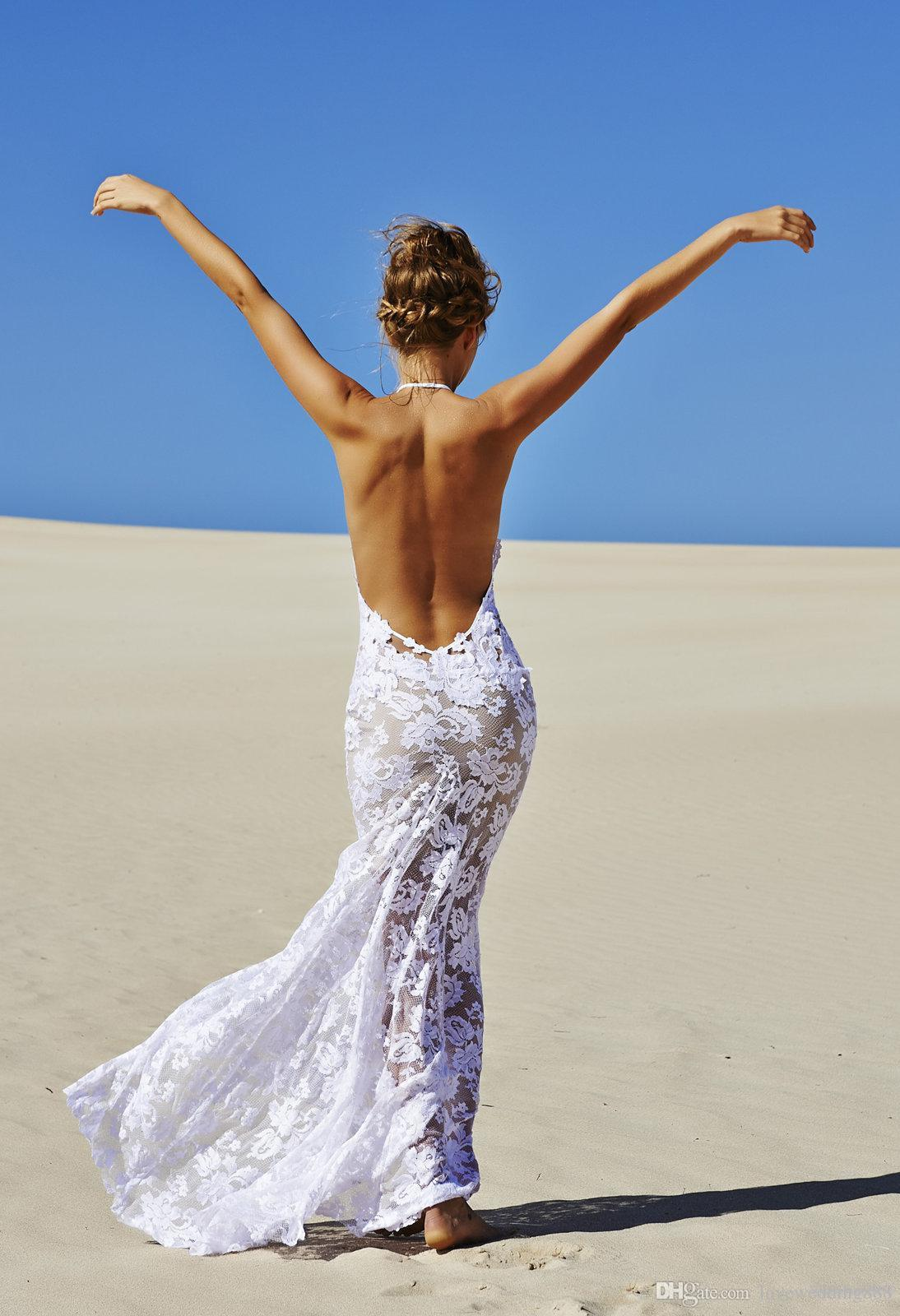 2019 BOHO Summer Beach Wedding Dresses Sexy Backless Halter Sleeveless Coast Party Holiday Bridal Wear Simple
