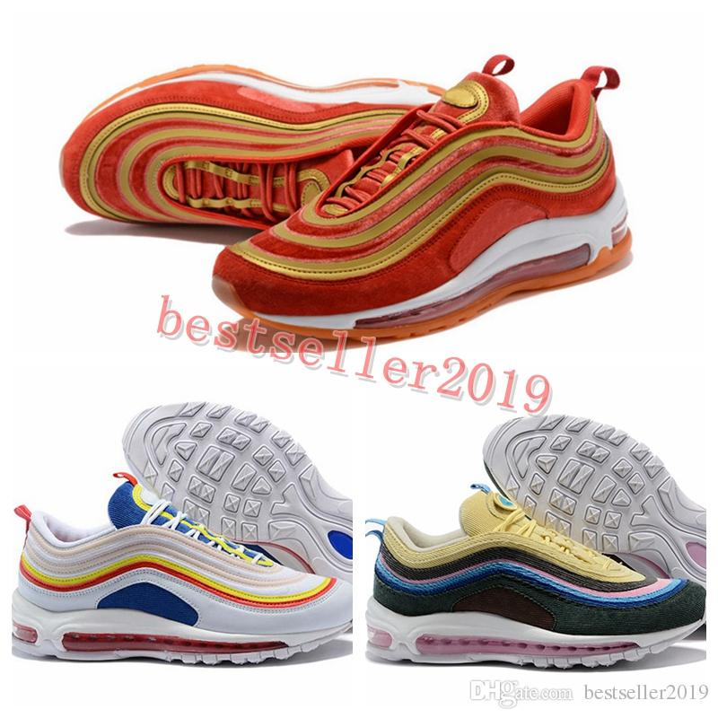 2018 Sean Wotherspoon x 97 1 VF SW Hybrid Running Shoes Summer Vibes 97s Ultra Wine Red Velvet Mens Trainers Sports Sneakers 36-46 cheap many kinds of DPBfYZeR9