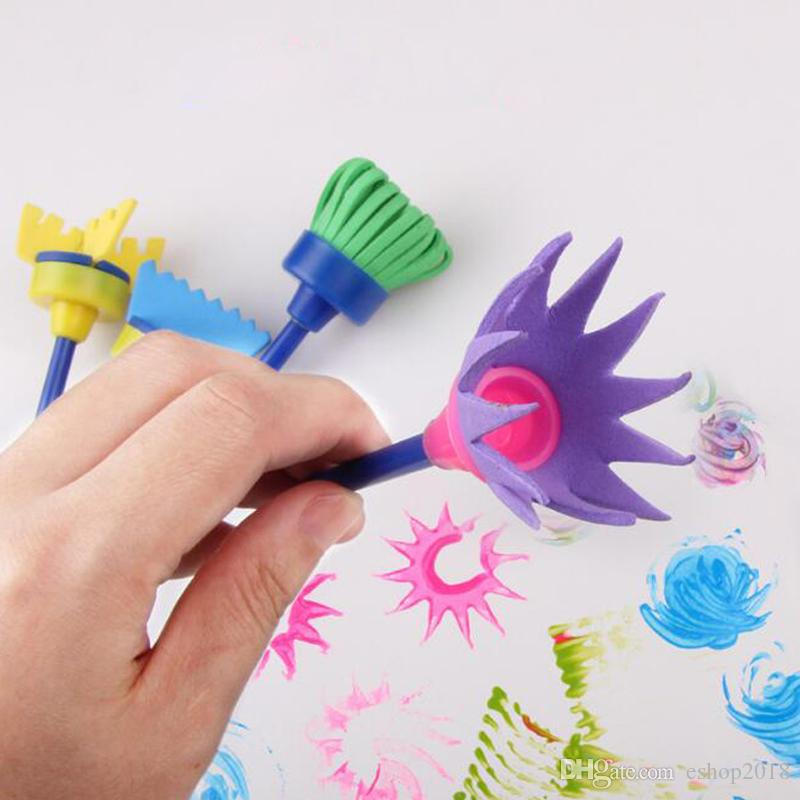 New Fashion Drawing Toys Funny creative toys for kids diy flower Graffiti sponge Art Supplies Brushes Seal Painting Tool
