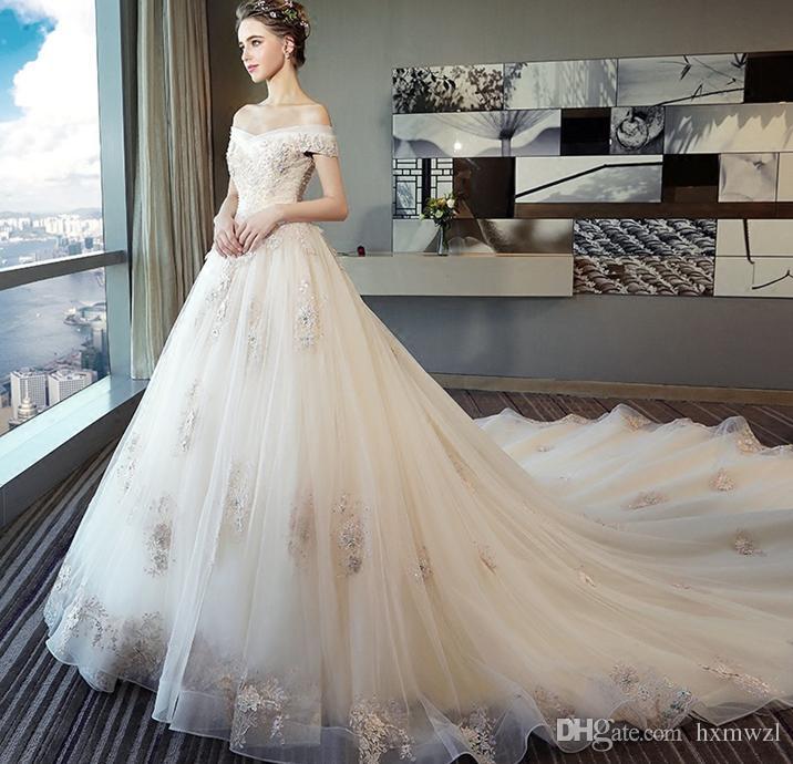 Großhandel 2018 Neues Hochzeits Kleid Braut Hochzeits Schlepper ...